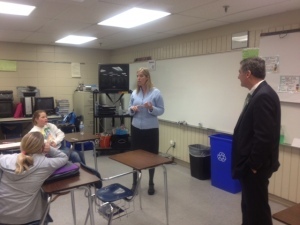 Dr. Cost and Dr. Stewart address PVV staff on March 6.